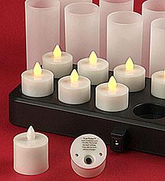 Amber Remote Control Flameless Timer Tea Light Set 12
