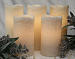 Set Of 5 White Beaded Pillar String Lights Electric