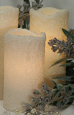 Electric Candle String Lights : Set of 5 White Beaded Pillar String Lights - Electric - Shop Now