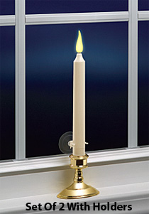 Classic 9 Inch Ivory Flameless Window Candle Kit Set Of
