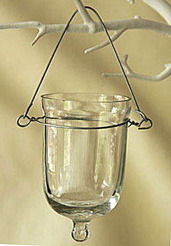 Set of 6 glass tealight holders 3 inches tall with for Hanging votive candles